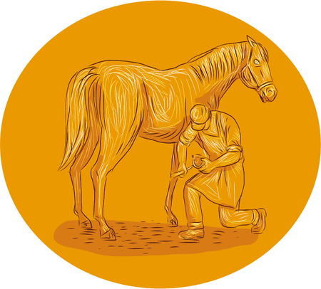 Drawing sketch style illustration of a farrier, specialist in equine hoof care, including the trimming and balancing of hooves,  placing of shoes on hoof of horse viewed from the side set inside circle on isolated background.