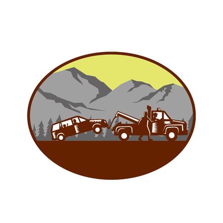 Illustratie van een auto die weg wordt gesleept, mensen in de auto, kind kijken die uit het achterruit met de mens kijken die naast slepenvrachtwagen lopen die aan bestuurder zitten binnen ovale die vorm met berg en bomen op de achtergrond wordt gedaan in retro houtdrukstijl wordt gedaan.