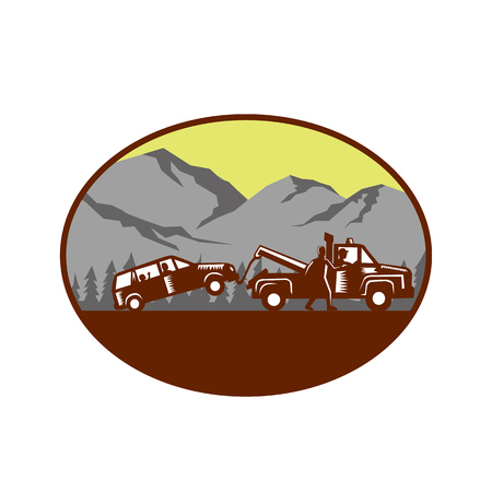 man looking out: Illustration of a car being towed away, people in the car, child looking looking out the back window with man walking beside tow truck talking to driver set inside oval shape with mountain and trees in the background done in retro woodcut style.