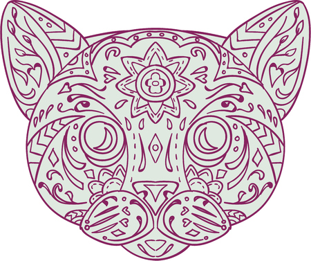 white cats: Mandala style illustration of a cat head  viewed from front set on isolated white background. Illustration