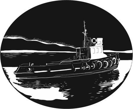 Ilustração de um rebocador de rio, rebocador ou pushboat no rio dentro da forma oval com água e montanha em segundo plano feito em estilo de woodcut retro.