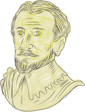 Rysunek styl szkic ilustracja popiersie z 15 wieku hiszpański konkwistador, odkrywca, nawigator na na białym tle. Ilustracje wektorowe