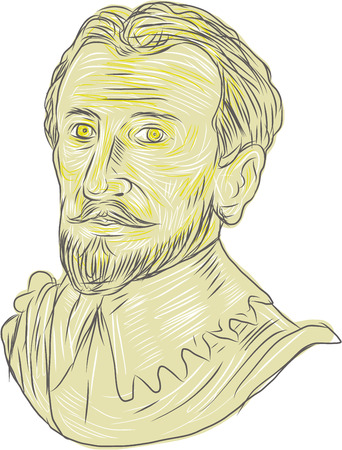 Drawing sketch style illustration of a bust of a 15th Century Spanish conquistador, explorer, navigator on isolated white background.