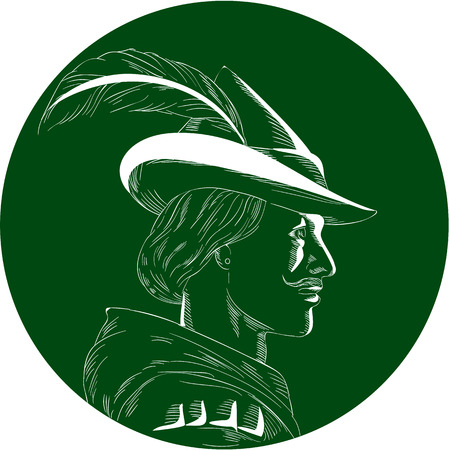 Illustration of a Robin Hood wearing medieval hat with a pointed brim and feather viewed from side set inside circle done in retro woodcut style. Illustration