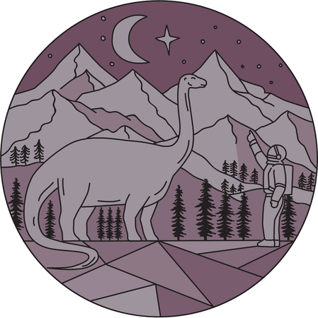 Mono line style illustration of an astronaut pointing to a brontosaurus with mountain, moon and stars in the background set inside circle.