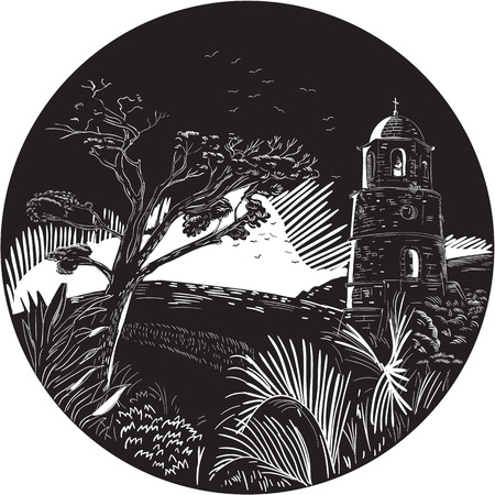 Illustration of a bellfry tower on a hill with trees nad birds set inside circle done in retro woodcut style. Illustration