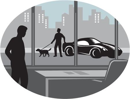 silhouette voiture: Illustratin d'un homme à l'intérieur d'un bureau en regardant à travers une fenêtre et de voir une personne debout à côté d'une voiture exotique avec un chien bien entretenu en laisse définir à l'intérieur de forme ovale avec des bâtiments en arrière-plan fait dans le style de gravure sur bois rétro.