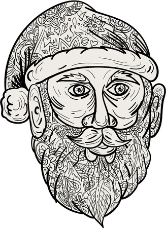 kris: Mandala style illustration of Santa Claus head facing front set on isolated white background. Illustration