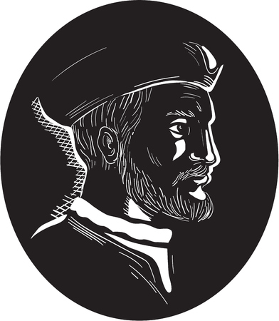 breton: Illustration showing Jacques Cartier, French explorer of Breton origin who claimed what is now Canada for France viewed from the side set inside oval shape on isolated background done in retro woodcut style. Illustration