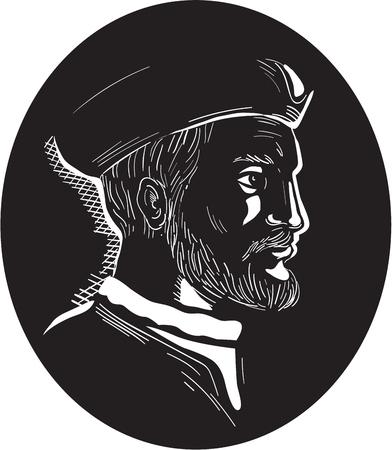 Ilustracja przedstawiająca Jacquesa Cartiera, francuskiego odkrywcę pochodzenia bretońskiego, który twierdził, że jest teraz Kanadą dla Francji, widzianej z boku w środku owalnego kształtu na białym tle wykonanym w stylu retro drzeworyt. Ilustracje wektorowe
