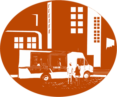 Illustration of a mobile foodtruck with people talking set inside oval shape with city buildings in the background done in retro woodcut style.