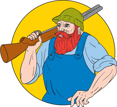 paul: Drawing sketch style illustration of Paul Bunyan, a giant lumberjack in American folklore, carrying a shotgun rifle on shoulder set inside circle done. Illustration