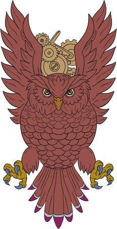 図面スケッチ イラスト フクロウの翼を持つフロント急降下に直面しているはバック グラウンドで時計の歯車と 。