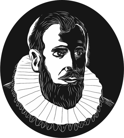 beard man: Illustration of Henry Hudson, English sea explorer and navigator in the 17th century who explored the Hudson River viewed from front set inside oval shape done in retro woodcut style.
