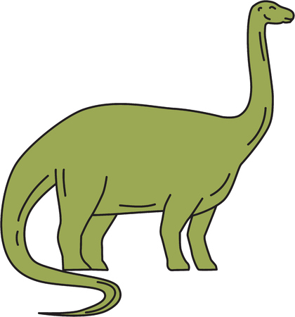 Mono line style illustration of a Brontosaurus