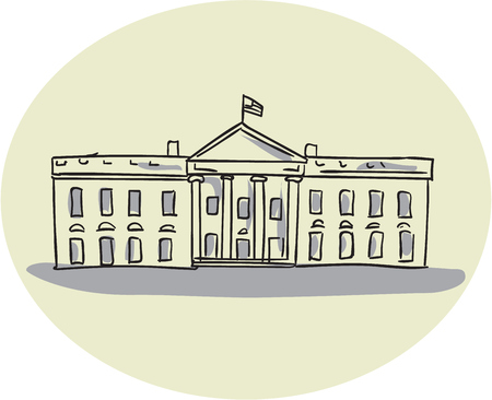 oval shape: Drawing sketch style illustration of the White House building set inside oval shape viewed from front set on isolated background.