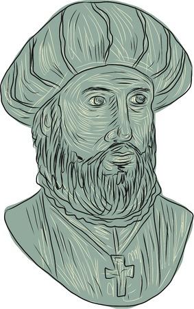 Rysunek szkic stylu ilustracji Vasco da Gama, pierwszy hrabia Vidigueira, portugalski odkrywca i pierwszy Europejczyk dotrzeć do Indii przez morze z przodu ustawiony na pojedyncze białe tło.