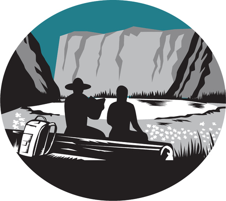 Ilustration of  two campers sitting on a log, one is reading and the other is female with backpack leaning against the log, backdrop is meadow, small glacier lake framed in steep cliffs set inside oval shape done in retro woodcut style. Illustration
