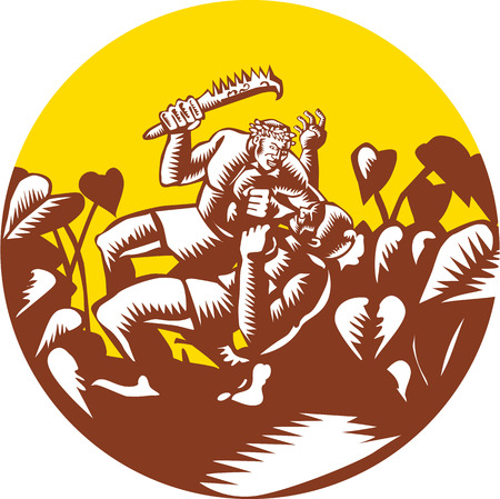 printmaking: Illustration of Samoan legend wielding a club Nifooti weapon defeating the god with taro plant in background done in retro woodcut style Illustration