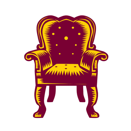 printmaking: Illustration of a baroque grand arm chair set on isolated white background done in retro woodcut style.