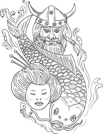 Drawing sketch style illustration of a head of a norseman viking warrior raider barbarian wearing horned helmet with beard, koi carp fish diving and geisha girl viewed from front set on isolated white background.
