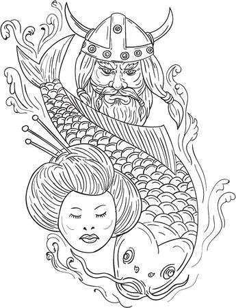 Dibujo ilustración de estilo de boceto de una cabeza de un guerrero viking viking guerrero bárbaro con casco de cuernos con barba, carpa koi buceo de peces y chica de geisha visto desde el frente conjunto en fondo blanco aislado.