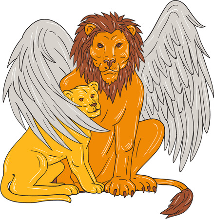 Drawing sketch style illustration of a winged lion, a mythological creature that resembles a lion with bird-like wings, protecting its cub by putting it under its wing set on isolated white background.