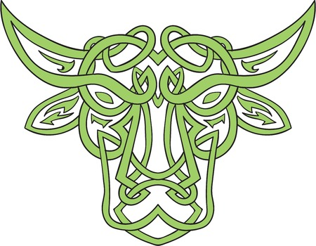 unbroken: Illustration of stylized taurus the bull made in Celtic knot, called Icovellavna,  plait work or knotwork woven into unbroken cord design set on isolated white background. Illustration