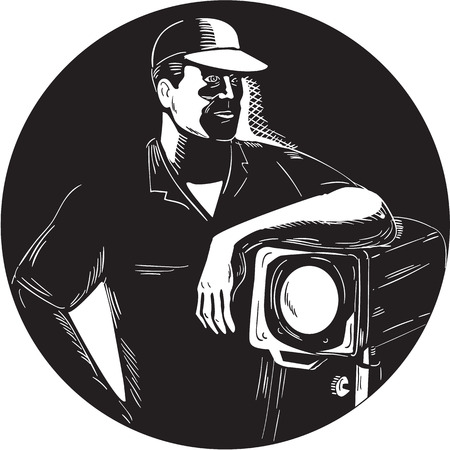 printmaking: Illustration of a lighting filmcrew leaning on a fresnel spotlight looking to the side viewed from front set inside circle done in retro woodcut style.