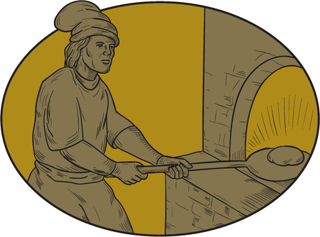 Drawing sketch style illustration of a baker chef cook in medieval times putting peel with dough into the wooden oven set inside oval shape.