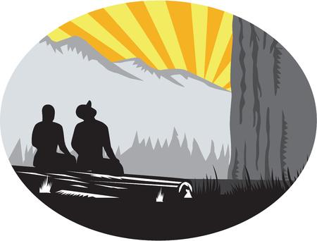 Illustration de deux campeurs de trampers assis sur une bûche, une femelle et un mâle regardant la montagne à l'intérieur de la forme ovale avec sunburst dans le fond fait dans le style rétro de gravure sur bois. Banque d'images - 72986181