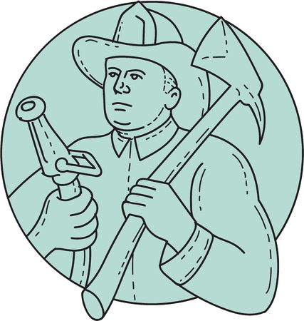 single man: Mono line style illustration of a fireman fire fighter emergency worker looking to the side holding fire hose in one hand and fire axe on the other hand resting on shoulder set inside circle on isolated background. Illustration