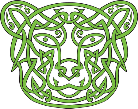 unbroken: Illustration of stylized bear made in Celtic knot, called Icovellavna,  plait work or knotwork woven into unbroken cord design.