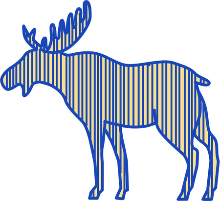 broad: Drawing sketch style illustration of a moose (North America) or elk (Eurasia), Alces alces, the largest extant species in the deer family by the broad, flat (or palmate) antler of the male bull viewed from the side set on isolated white background.