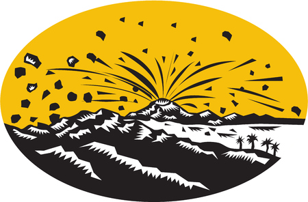 printmaking: Illustration of a volcano erupting volcanic eruption resulting to island formation set inside oval shape done in woodcut style.