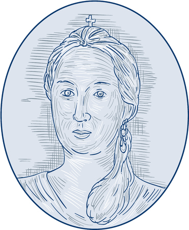aristocrat: Drawing sketch style illustration of an 18th century Russian empress bust viewed from front set inside oval shape.