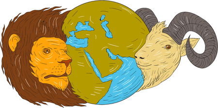 Drawing sketch style illustration of a map globe showing europe, middle east and africa  in between the heads of a lion and goat set on isolated white background. Illustration