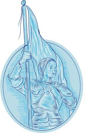 Drawing sketch style illustration of Joan of Arc, the Maid of Orleans, a heroine of France for her role during the Lancastrian phase of the Hundred Years War holding flag looking to the side viewed from front set inside oval shape.