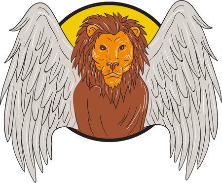big head: Drawing sketch style illustration of a winged lion big cat or the lion of St. Mark head.