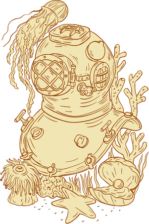 polyps: Drawing sketch style illustration of a copper and brass old school dive diving helmet