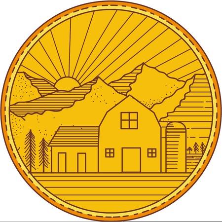 단색 스타일 미국 동굴 내부에 설정하는 백그라운드에서 변 강 쇠와 나무와 산와 태양 버스트 하우스의 미국 헛간 집. 일러스트