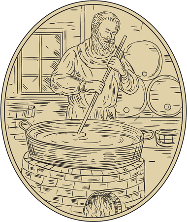 brewer: Drawing sketch style illustration of a medieval monk brewer brewing beer in brewery.