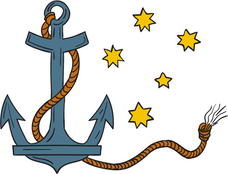 coiled: Drawing style illustration of an anchor, a device, made of metal, used to connect a vessel to sea bed to prevent the craft from drifting, with coiled rope and southern cross  star constellation in background.
