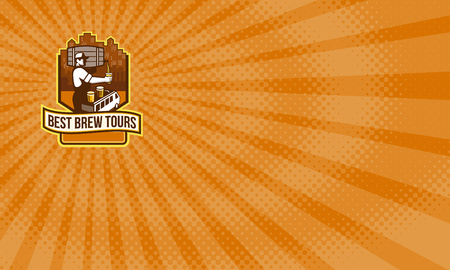 Business card showing Illustration of bartender carrying keg on shoulder pouring beer from keg viewed from the side with van bus and cityscape buildings in the background and the words Best Brew Tours set inside shield crest done in retro style.