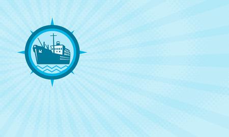 ビジネス カードが円の中にレトロなスタイルで行う旅客貨物船のイラストを表示します。 写真素材