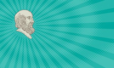 Biglietto da visita che mostra illustrazione di stile di linea mono del filosofo greco Platone testa visto dal lato.