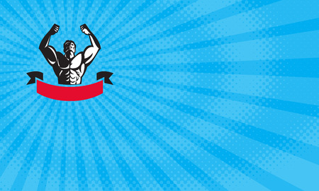 Business card showing Illustration of a male body builder flexing muscles looking up viewed from front with banner done in retro style.