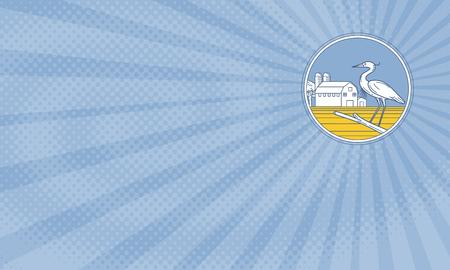 비즈니스 카드 게재 위대한 파란색 헤론의 그림 복고 스타일을 이루어 햇살 배경에서 헛간 농장 변 강 쇠와 동그라미 안에 설정 측면에서 볼 지점에 자