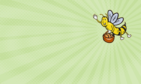 loaf: Business card showing Illustration of a bumble bee waving carrying a basket full of bread loaf done in cartoon style.