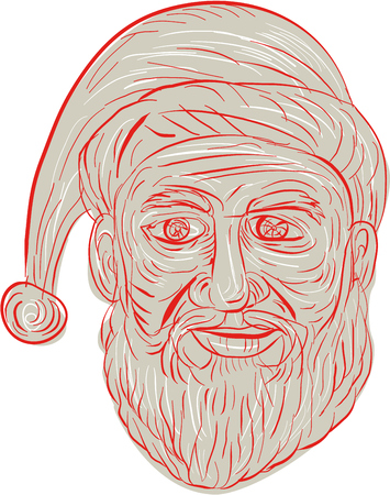 Drawing sketch style illustration of a melancholy Santa Claus looking sad, gloomy and dejected viewed from front set on isolated white background.